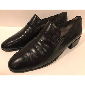 VTG Black Leather Italian Loafers J.R. Barrett 7